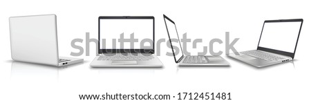 big 3d realistic vector collection of laptop in side, front, back and 3/4 view. Isolated on white background. Perfect for your advertisement. Сток-фото ©