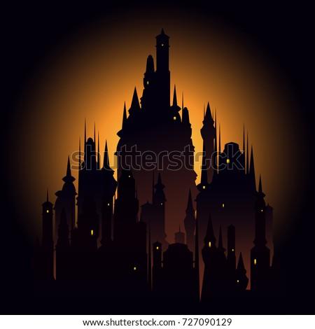 big dark castle meeting sunset