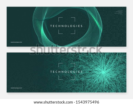 Big data abstract. Digital technology background. Artificial intelligence and deep learning concept. Tech visual for screen template. Neural big data abstract backdrop.