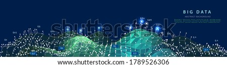 Big data. Abstract visualization polygonal algorithm analyze data. Quantum cryptography concept. Blockchain. Analytics algorithms data.  Banner for bussines, science and techology.  ストックフォト ©