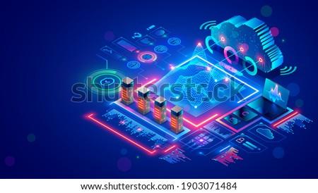 Big data analysis, cloud computing in data center. Technology storage, protection, processing digital information in internet. Server racks in datacenter compute statistics and social media big data.
