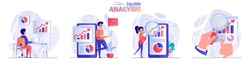 Big data analysis concept scenes set. Analyst works with statistics, analyzes business data charts, company growth. Collection of people activities. Vector illustration of characters in flat design
