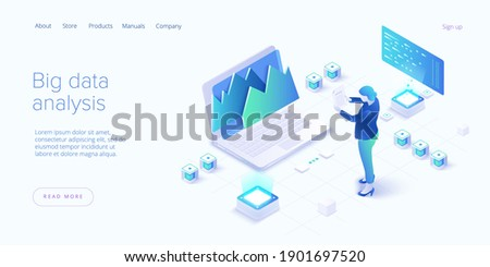 Big data analysis in isometric vector illustration. Abstract datacenter or data hosting server. .Computer storage or workstation.