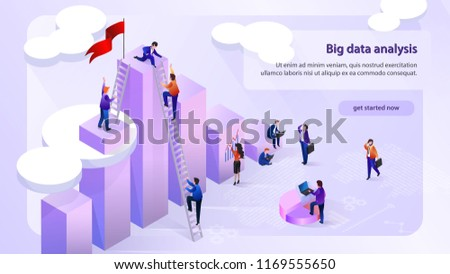 Big Data Analysis Isometric Vector Horizontal Web Banner with Working Business People Using Laptop, Climbing on Top of Infographics Column with Ladder. Financial Analytics Company Web Page Template