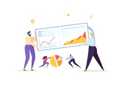 Big Data Analysis Strategy Concept. Marketing Analytics with Business People Characters Working Together with Diagrams and Graphs. Vector illustration