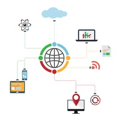Big Data Analytics Ecosystem. Internet Ecosystem data transfer analytics design image vector illustration