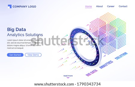 Big data analytics solutions isometric landing page, information technology concept, info blocks flow through luminous circle, datum traffic analysis, server room with connections 3d vector web banner