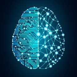 Big data and artificial intelligence concept. Machine learning and cyber mind domination concept in form of human brain outline outline with circuit board and binary data flow on blue background.