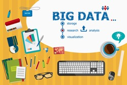 Big Data and flat design illustration concepts for business analysis, planning, consulting, team work, project management. Big Data concepts for web banner and printed materials.