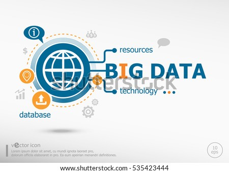 Big data and marketing concept. Project for web banner and creative process.