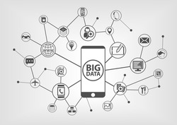 Big data and mobility concept with connected devices like smart phone. IT symbols on grey background.