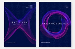 Big data background. Technology for visualization, artificial intelligence, deep learning and quantum computing. Design template for energy concept. Fractal big data backdrop.