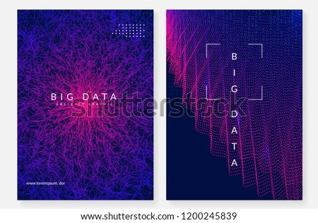 Big data background. Technology for visualization, artificial intelligence, deep learning and quantum computing. Design template for database concept. Geometric big data backdrop.