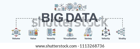 Big data banner web icon flat design, Volume, Value, Veracity, Visualization, Variety, Velocity, cloud computing and Virality. Minimal vector infographic.