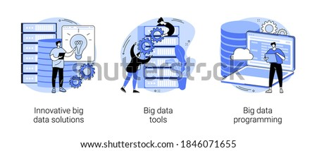 Big data business software abstract concept vector illustration set. Innovative big data solutions, tools and programming, information visualization, analytics platform, open source abstract metaphor.
