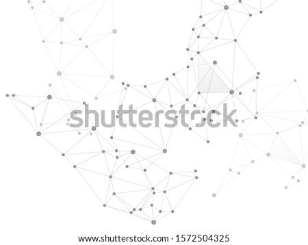 Big data cloud scientific concept. Network nodes greyscale plexus background. Tech vector big data visualization cloud structure. Nanotechnology backdrop. Linked dot nodes and lines low poly.