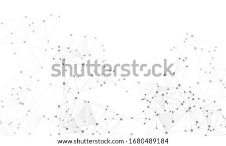 Big data cloud scientific concept. Network nodes greyscale plexus background. Tech vector big data visualization cloud structure. Nodes and lines polygonal connections. Information analytics graphics.
