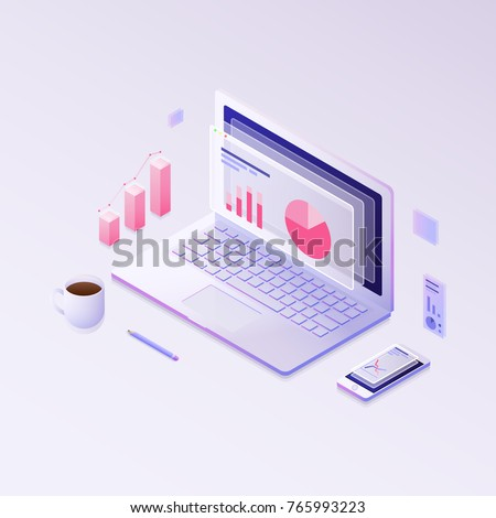 Big data concept. Isometric vector illustration