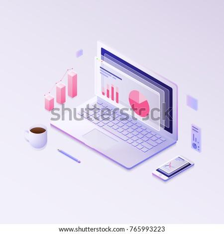Big data concept. Isometric vector illustration