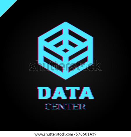 Big data cube and technology box logotype