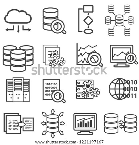 Big data, data analysis, computer and cloud computing line web icon set