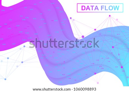 Big data flow. Artificial Intelligence and Machine Learning Concept. Digital analytics concept with graph and charts. Financial schedule infographic. Vector illustration