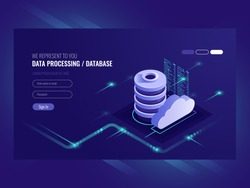 Big data flow processing concept, cloud database, isometric vector, web hosting and server room icons ultraviolet