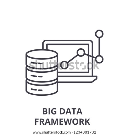 Big data framework line icon concept. Big data framework vector linear illustration, symbol, sign