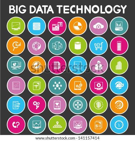 big data icon set, color buttons set