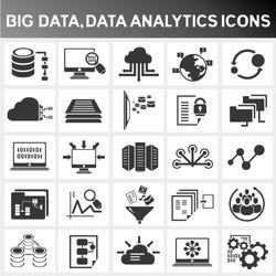 big data icon set, data analytics icon set, cloud computing icon set