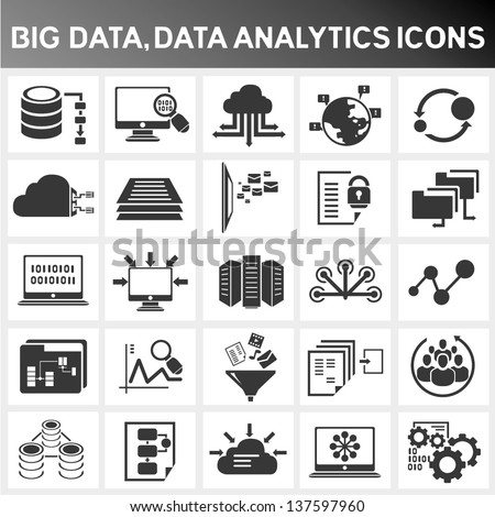 big data icon set, data analytics icon set, cloud computing icon set