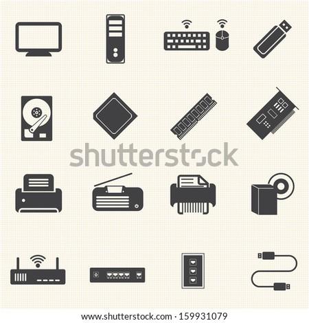 big data icons set  computer