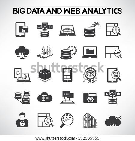 big data icons set, web analytics icons set