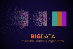 BIG DATA Machine Learning Algorithms. Analysis of Information Minimalistic Infographics Design. Science/Technology Background. Vector Illustration.
