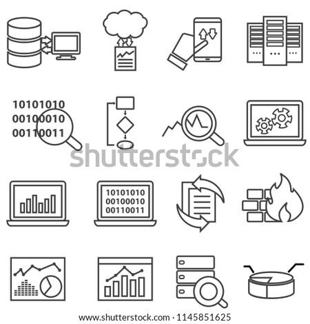 Big data, machine learning and data analysis line icons