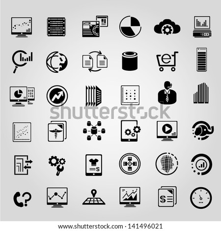 big data management icons set, black icons set