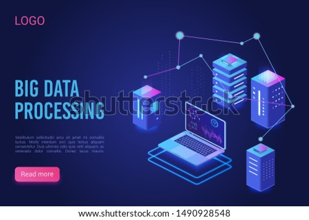 Big data processing and analysing landing page vector template. Analytics data servers, Server room banner, web hosting concept, ultraviolet isometric vector illustration