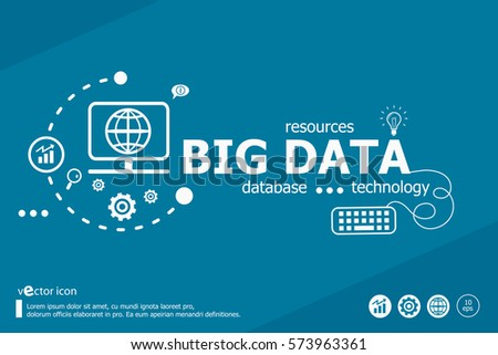 Big data related words and marketing concept. Infographic business. Project for web banner and creative process.