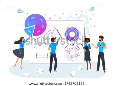 Big data science analysis concept. Marketing research, project development management. Digital data analysis service. Business team brainstorming and analyzing data analytics report Photo stock ©
