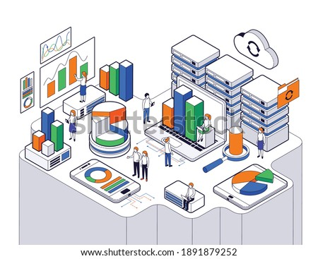 Big data science analysis isometric with abstract elements clouds docs hard drivers and 3 d charts vector illustration Zdjęcia stock ©