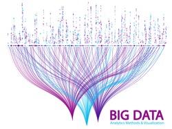 Big data statistical methods visualization concept vector design. 0 and 1 binary information data visualization. Digital analytics statistical information of big number curves fractal matrix.