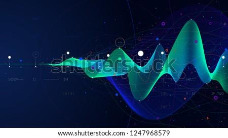 Big data stream futuristic infographic business analytics presentation, vector illustration