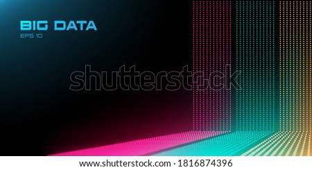 Big Data stream with Depth of Field Effect DoF. Red, green and yellow big data points with copy space. Linear perspective. Binary code structure. Abstract background. Vector Stock photo ©
