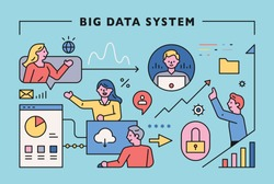 Big data system concept with working people. Digital web icons. flat design style minimal vector illustration.