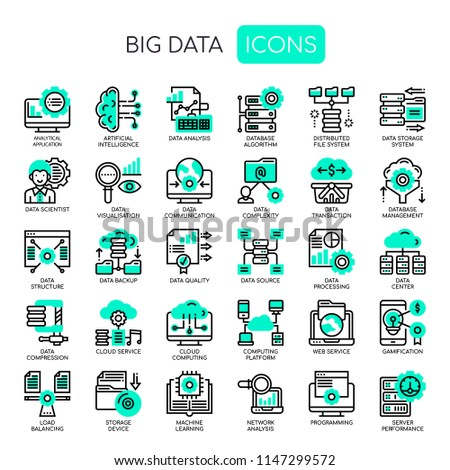 Big Data , Thin Line and Pixel Perfect Icons