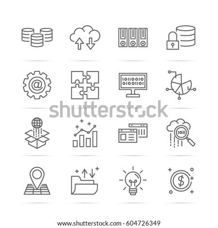 big data vector line icons, minimal pictogram design, editable stroke for any resolution