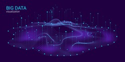 Big Data Vector Visualization. 3d Futuristic Cosmic Design. Technology Background. Visual Presentation on the Analysis of Big Data. Glow Fractal Element in Futuristic Style. Information Stream.