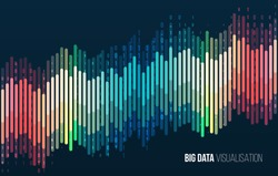 Big data visualization. Abstract background with lines array and binary code. Connection structure. Data array visual concept. Big data connection complex.