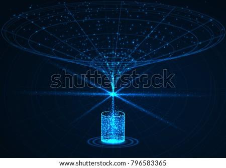 Big data visualization, abstract database, vector illustration