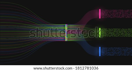 Big data visualization. Analysis process. A sorting machine of binary code. Information analysis concept. Information stream. Science, technology background. Vector illustration.